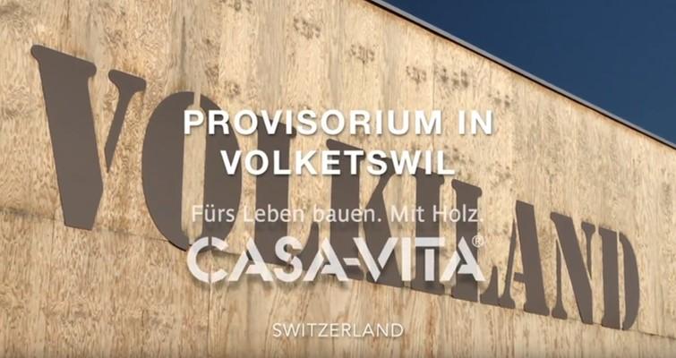 Holz-Provisorium für das Einkaufszentrum Volkiland